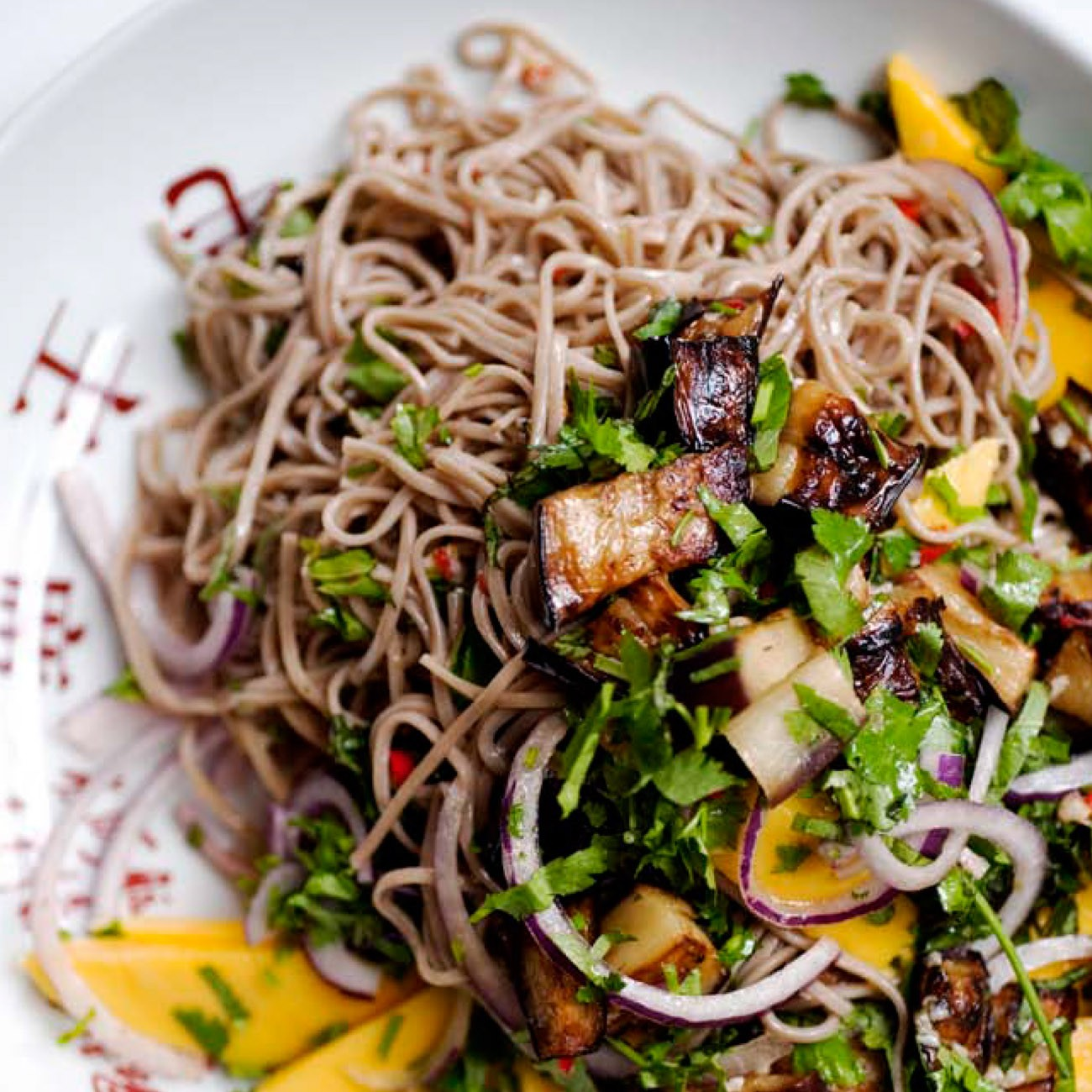 ottolenghi soba noodle, aubergine and mango
